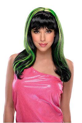 Adults Womens 80s Long Black Neon Green Streaks Punk Rave Halloween Costume Wig