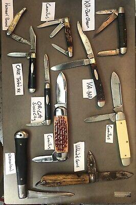 10 VINTAGE POCKET KNIFE LOT Toenail Sunfish Cast Tested Camillus Ka-bar Old Bone