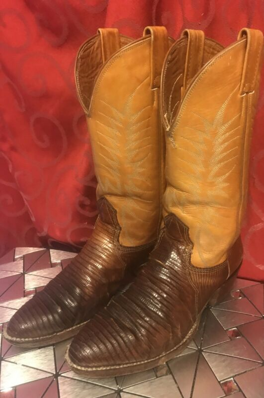 NOCONA, Tan, Leather, COWBOY, BOOTS, Brown, LIZARD, SKIN, Western, MEN'S, SIZE, 9, D