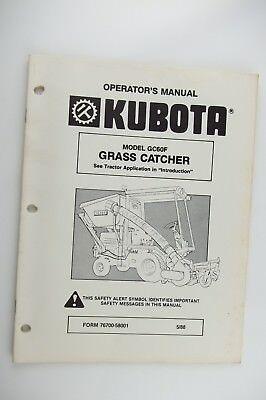 Kubota Grass Catcher Gc60f Mower Operators Manual Factory Oem
