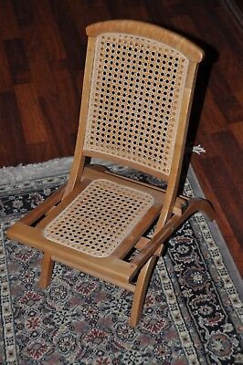 PRICE REDUCED - Vintage Child's Wooden Folding Chair with Cane Bottom & Back Cane Back Folding Chairs