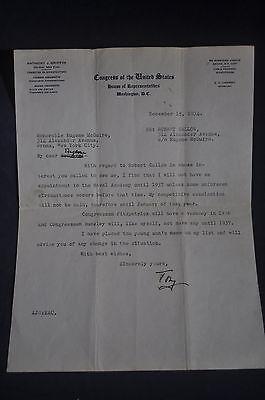 1934 *SIGNED* Anthony J Griffin New York Representative - Naval Academy Appt