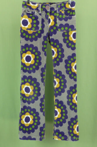308 mini Boden girl gray with flowers corduroy pants EUC size 11Y