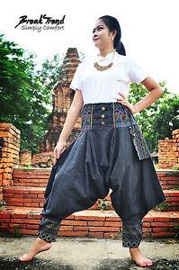 Schwarze Handgemachte Akha Minority Haremshose Traditionelles Thai Bergvolk 1802