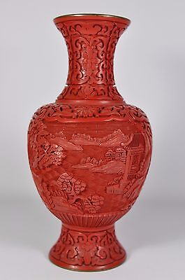 Fine Vintage China Chinese Hand Carved Cinnabar Lacquer Vase Scholar Art