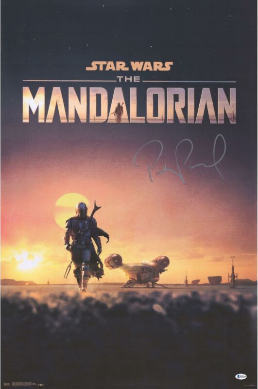 "Pedro Pascal Star Wars The Mandalorian Autographed 22"" x 34"" D23 Movie Poster"