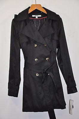 NWT W's DKNY Double-Breasted Trench Coat W/ Detachable Hood. Sz.XL, Black, $180