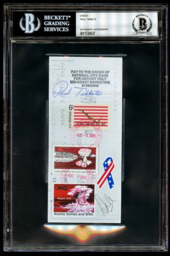 Paul Tibbets signed autograph auto Check Pilot of the ENOLA GAY WWII BAS Slabbed