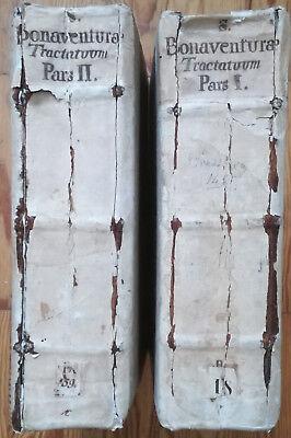 Bonaventura Opuscula Two Huge Incunable Volumes Husner 1495
