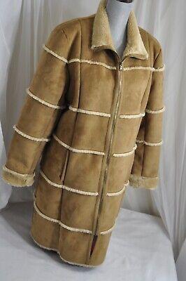 Dennis Basso Coat Brown Faux Suede & Fur Lined Jacket womens L patchwork  Womens Faux Fur Coats