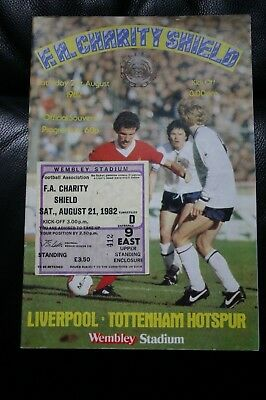 Liverpool v Tottenham Hotspur 1982 Charity Shield Programme + Ticket