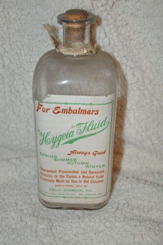 Antique Heygeia Embalming Fluid glass bottle Baltimore MD Mortuary Morgue Casket