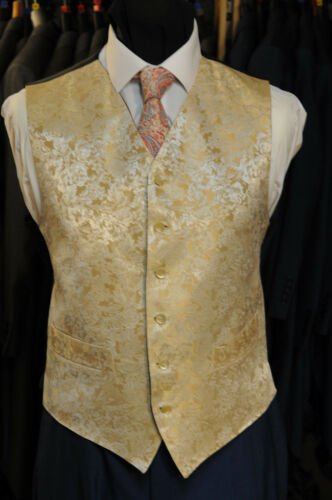 GOLD LEAF PATTERN FORMAL WEDDING WAISTCOAT W - 1031