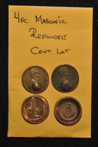 Early Masonic Counterstamped and token lot  of four coins ( 4 )