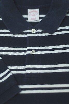Brooks Brothers Hombre Azul Marino y Blanco Algodón de Rayas Polo de Golf L