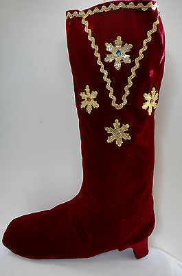Holiday Velvet Musical Stocking Plays Jingle Bells Embellished Snowflakes Wine