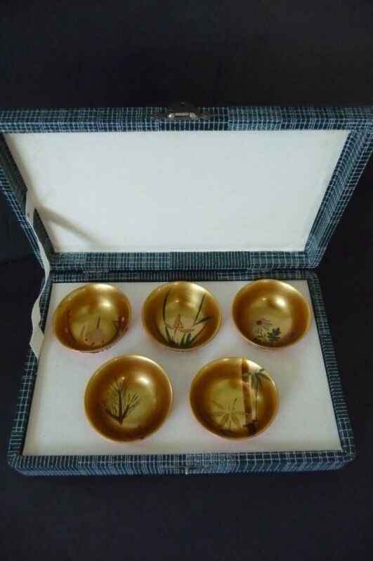 Vintage 1969 Never Used Japanese Gold/Red Lacquer Wood SAKE Set in Original Box