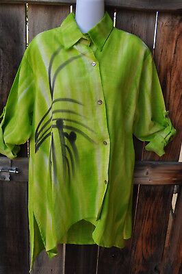 Dilemma Art To Wear Hand Woven Hand Painted Cotton Asymmetric Shirt In Lime  Os
