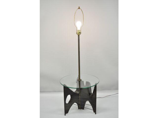 Harry Balmer for Laurel Brutalist Floor Lamp Steel Round Glass Side End Table