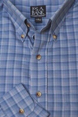 Jos A Bank Mens Stone Blue   Gray Check Cotton Casual Shirt L Large