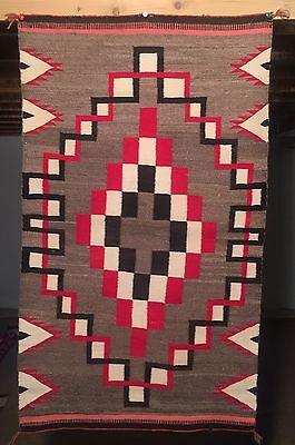 1915 HUBBELL NAVAJO Ganado RUG BLANKET 33x56 Weaving Textile Native American