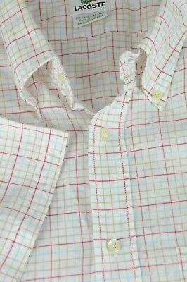 Lacoste Hombre Blanco Rojo Marrón & Azul Geo Camisa Algodón Ocasional XL Talla segunda mano  Embacar hacia Spain