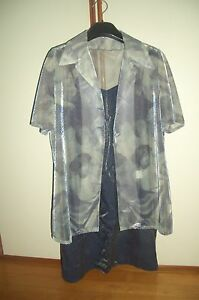 abito-vestito-laminato-donna-con-casacca-tg-42