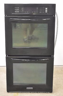 "Kitchenaid KEBK276BBL Architect Series 27"" Double Wall Oven Black"
