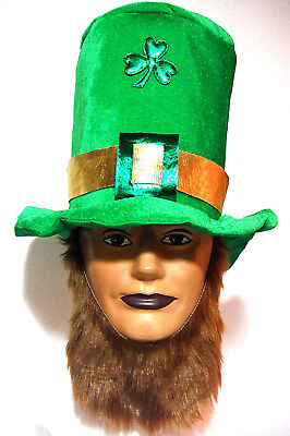 ST PATRICKS DAY IRISH TOP HAT w/BEARD AND BUCKLE w/ SHAMROCK CENTER PIECE - Top Hat Centerpiece
