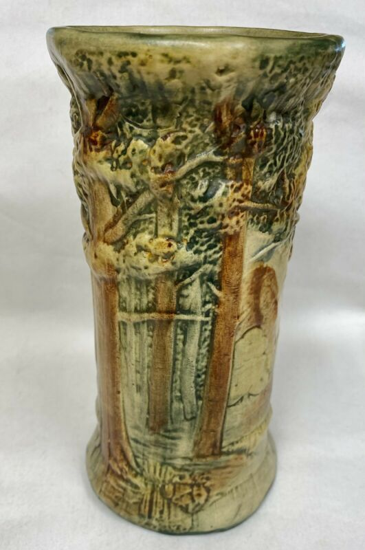 Vintage WELLER FOREST TREE WOODCRAFT American Art Pottery Flower Vase 8""