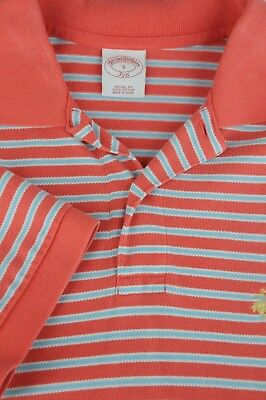 Brooks Brothers 346 Men's Blush & Blue Mesh Cotton Casual Polo Shirt S Small