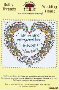 BOTHY THREADS WEDDING HEART SAMPLER LOVE COUNTED CROSS STITCH KIT 2015