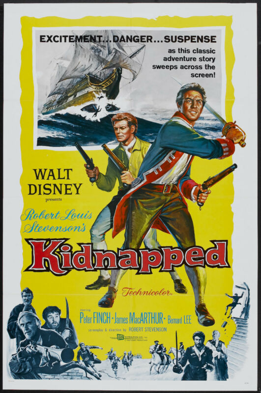 KIDNAPPED orig 1960 DISNEY one sheet movie poster PETER O