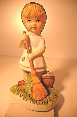 VTG Dresden Girl Sweeping Figurine Porcelain Hand Painted Meissen style N Crown