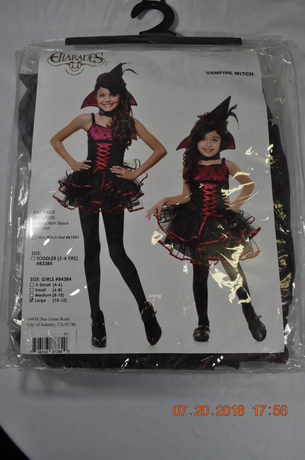 Charades Girls Vampire Witch Halloween Costume #84384 Size Large
