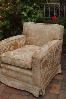 GOLD Floral Chic Fabric Chair Occasional Arm Lounge Bedroom Chair
