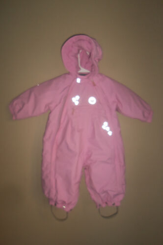 GIRL REIMA PINK FLEECE LINED ONE PIECE HOODED SNOW SNOWSUIT TODDLER 74  9 MONTHS