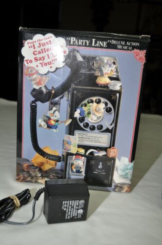 1992 Vintage Enesco Musical Telephone Party Line Mice Pay Phone w/Box