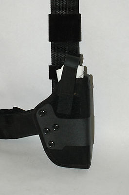 Uncle Mikes Police Tactical Holster W Leg Strap Sz 19 Colt Govt 9mm10mm.45mm