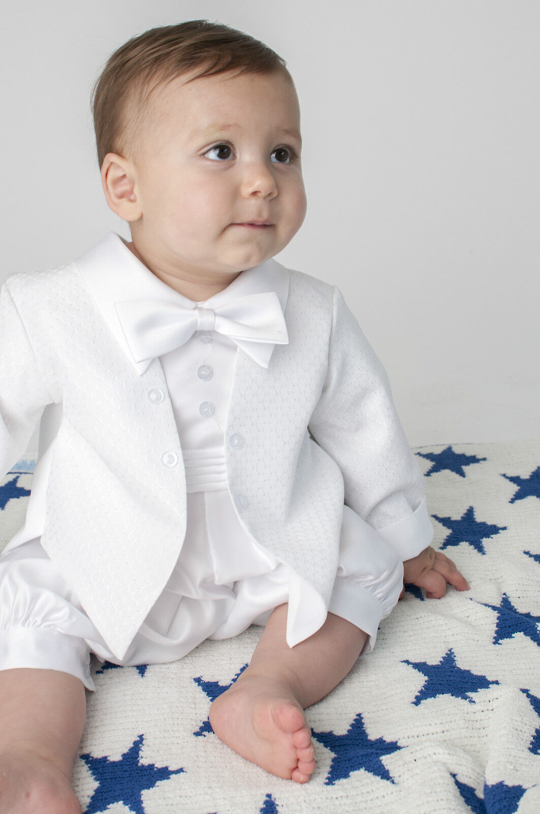 Baby Boys Christening Outfit Christening Suit 3pc Suit Navy Bow Tie