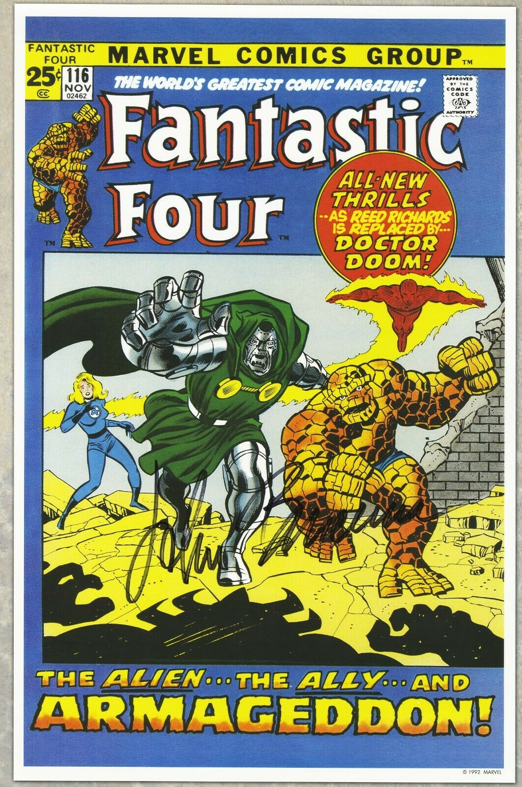 Fantastic Four 116 John Buscema Autographed Signed POSTER 11 X 17 Doctor Doom - $21.00