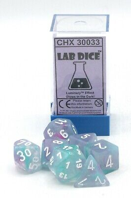 Chessex Lab Dice CHX 30033 Nebula Wisteria/White Luminary (Polyhedral 7-Die Set)