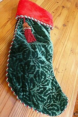 GREEN CHRISTMAS STOCKING-VELVET-DECORATIVE TRIM-Tassel/Loop-About 9 x 21