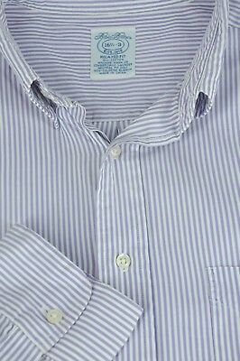 Brooks Bothers 1818 Men's Purple & White Striped Cotton Dress Shirt 16.5 x 33