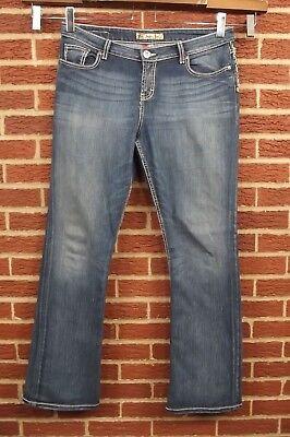 BKE Kate Jeans Womens 34 W x 33.5 L Boot Leg Bootcut Dark Blue Wash Embellished  Kate Bootcut Jeans