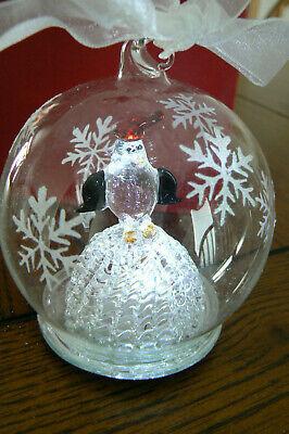 Light Up Christmas Ornament Globe Spun Glass Penguin MIB FREE US SHIP