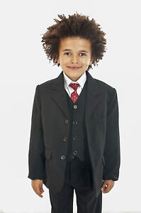 Boys-Black-Suit-5-Piece-Wedding-Page-Boy-Baby-Formal-Party-Smart-0-3-14-yrs
