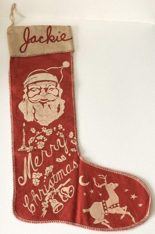 Antique Jackie Felt Merry Christmas Red Stocking Santa Reindeer Candle Bells