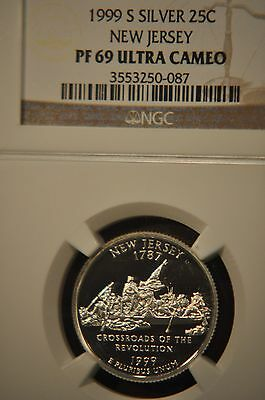 1999-S NEW JERSEY SILVER STATE QUARTER-NGC PF69ULTRA CAMEO-NICE FROSTED CAMEO