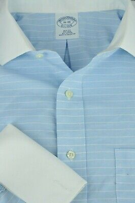Brooks Brothers 1818 Men's Sky Blue & White Striped Cotton Dress Shirt 16 x 33